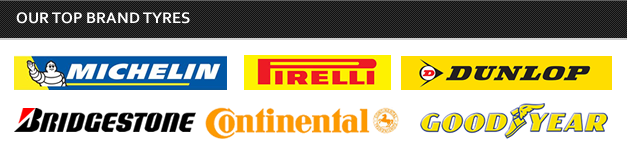 <h2>Our Top Brand Tyres</h2><br> Michelin<br>pirelli<br>dunlop<br>bridgestone<br>continental<br>good year